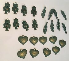 Metal & Turquoise Antiqued Owl Heart Feather Pendant Necklaces Jewelry 25 Pcs