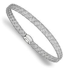 "Ladies 14k White Gold Leslies Fancy Stretch Flexible Mesh Bangle Bracelet 7.5"""