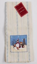St. Nicholas Square Kitchen Towel Holidays Christmas Snowman Embroidered Cotton