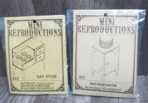 Vtg Mini Reproductions Dollhouse kitchen sealed kits #822 & 821