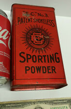 Vintage EMPTY Gunpowder Tin Box Sporting Gun Powder E.C. EC 3 litho UK Britain