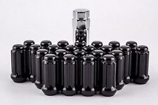 Set 24 Black Spline Lug Nuts 14mm x2.0 w/ Key Fits Ford F150 2004-2014  W1042STB