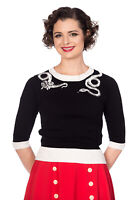 Women's Black Vintage Retro Rockabilly Knitted Roses Snake Top Banned Apparel