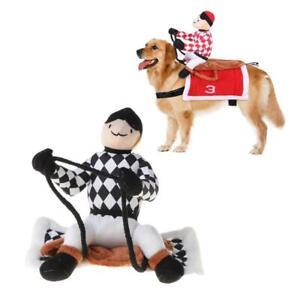 Funny Pet Riding Horse Costume Dog Rider Clothes Halloween Chrismas Cute Suit