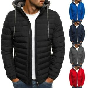 Mens Quilted Padded Puffer Jacket Hooded Zip Up Winter Pocket Warm Coats Outwear