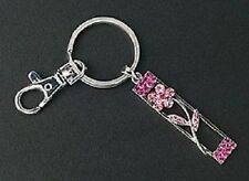Pink Crystal Flower Purse Charm Silver Ring Key Chain Mothers Day Gifts New