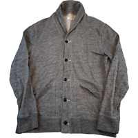 J.CREW Mens Knitted Jumper Large Grey Button Front Shawl Collared Cardigan