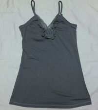 Xhilaration Women's Gray Summer Strappy  Cami Top Ruffle/Lace front  Size XS