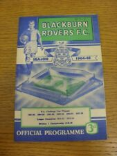 07/10/1964 Blackburn Rovers v Stoke City  (Score Noted On Cover And Team Changes