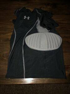 under armour youth large black football padded compression shirt