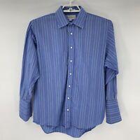 Burberry London Mens Dress Shirt Blue Stripe Size 16.5 33 French Cuff I6