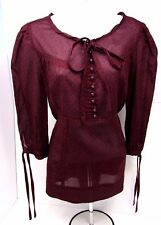 MARC by Marc Jacobs Size: M Blouse Top Maroon Button Front Peasant Tunic Empire