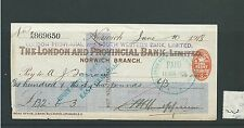 wbc. - CHEQUE - CH228 - USED -1918 - LONDON PROV. & S WESTERN, o'print - NORWICH