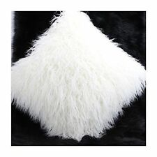 """SUPER SOFT FAUX MONGOLIAN FUR CUSHION COVER WITH FAUX SUEDE BACK IN WHITE 18"""""""