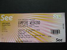 VAMPIRE WEEKEND  LONDON  02/12/2010  TICKET UNUSED