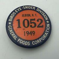 """1949 General Foods Birds Eye 1-3/4"""" Employee ID Badge Pin Pinback Vintage  R3"""