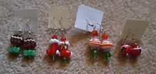 Lot of 4 Handmade Christmas Earrings Stockings/Gingerbread Man/Angry Bird/Ornam.