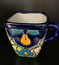 Authentic Hand-Painted Mexican Talavera Coffee Mug, Square 8 oz