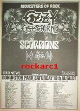 OZZY OSBOURNE Def Leppard  Donington 1986 UK Poster size Press ADVERT 16x12 inch