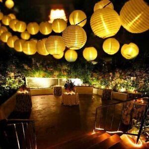 Party LED Lampion Lichterkette 10m Strom Netzstecker 40 Lampions Warmweiß Deko