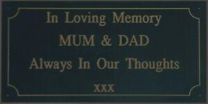 4 x 2 Memorial Bench Engraved Plaque Black on Gold Exterior Grade No Maintenance