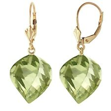26 Carat 14K Solid Yellow Gold Earrings Twisted Briolette Green Amethyst