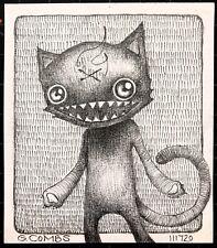 original pencil drawing black cat comic book lowbrow pop punk folk cats art brut