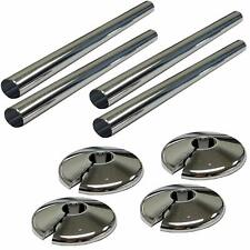 4 X  NEW CHROME RADSNAPS RADIATOR PIPE COVERS  + COLLARS - FREE UK DELIVERY