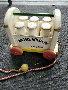 Wood Playskool Dairy Wagon Toy
