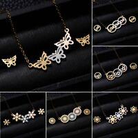 7ece6ecc1 Stainless Steel Butterfly Pendant Women Wedding Necklace Earrings Jewelry  Set