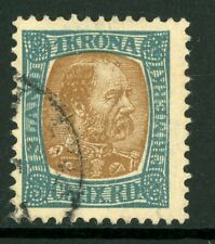 Iceland 1902 Christian IX 1Kr Sl Bl & Yel Brn Perf 13 Scott # 44 VFU C731