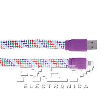 Cable Plano Compatible para iPhone iPad iPod Datos-Carga Multicolor 1 m v291