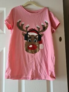 Girls pink t shirt Christmas Aged 11 USED NEXT