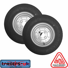 """Pair of 10"""" Trailer Wheel & Tyre 145/80 x 10"""" PCD 4/100mm - *FREE DELIVERY*"""
