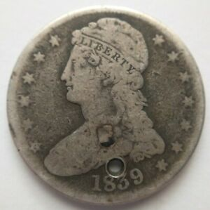 1839 O Capped Bust Half Dollar 50c Very Good VG or Fine F Details Greer-1 Holed