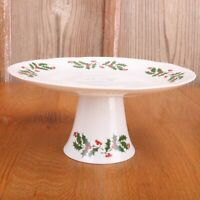 Apulum Christmas Holiday Pedestal Cake Plate Footed Made In Romania