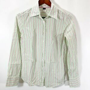 J. Crew Shirt Womens Small Button Blouse Slim Fit Striped Green Pink Cotton Top