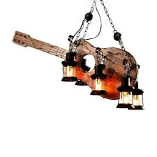 Unique Guitar Pendant Lights Iron and Wood 6 Heads Black Hanging Ceiling Lights