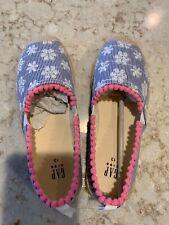 Gap Kids Blue/White Eyelet Stripe Espadrille Flats - Size 13