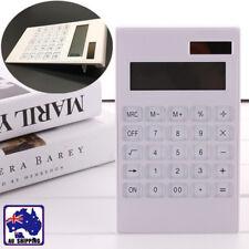 Calculator Office Student Solar & Battery 12-Digit White Thin Basic EWCA94100