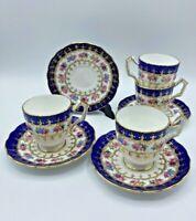 Set of 4 Vintage Aynsley Footed Demitasse Cup & Saucer Cobalt Blue Gold Roses