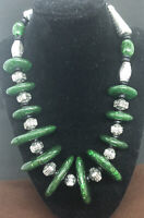Vtg 1980s Dante Design Silvertone & Green Onyx  Disc Necklace  SIGNED Preowned