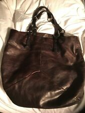 Yves Saint Laurent Vintage Chocolate Leather Tote Handbag W/ Silver Hardware