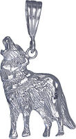 Sterling Silver Howling Wolf Charm Pendant Necklace Diamond Cut Finish with Chai