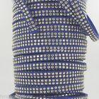 1M Cordon Daim Textile Plat 5X1,3mm/ Suedine BLEU jeanStrassée DORE # DS49