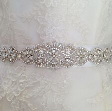 Bridal Wedding Dress Belt Bride Sash Ivory Pearl And Crystal Sparkle Ribbon B101