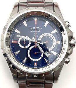 Bulova Marine Star 96B174 Blue Dial Chronograph Tachymeter Date 100M Men's Watch