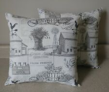 2 farm house farmhouse country toile barn rooster pillow covers shams 14 x 14
