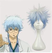 Gintama Sakata Gintoki Cosplay Wig Synthetic Blue Short Boy Male Hair for Men