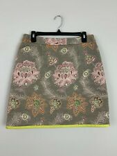 Etcetera Brown Floral Peacock Print Textured Short Skirt Size 8 M